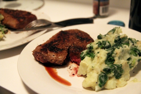 Miso steak & wasabi mash