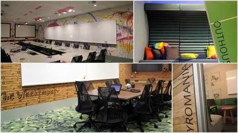 A selection of conference rooms in the new office