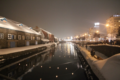 The canals are lined with lanterns and tealights.