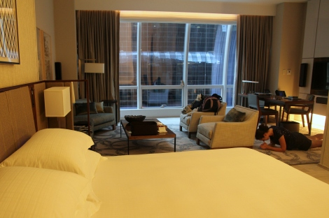 A view of the buildings from suite 1004. Don't mind the girl planking in the background.